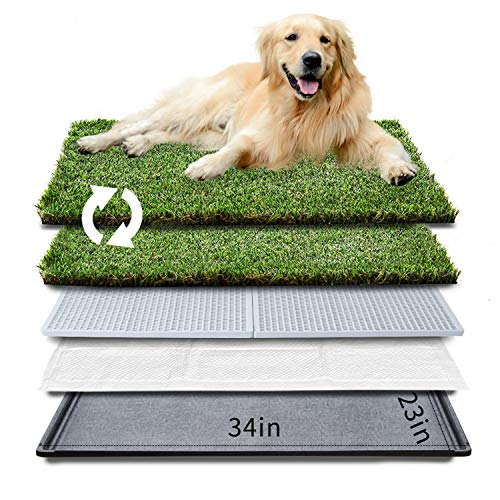 """HQ4us Dog Grass pad with Tray Large Dog Litter Box Toilet 34""""×23"""", 2×Artificial Grass for Dogs ,Pee pad, Realistic, Bite Resistance Turf, Less Stink, Potty for Balcony,"""