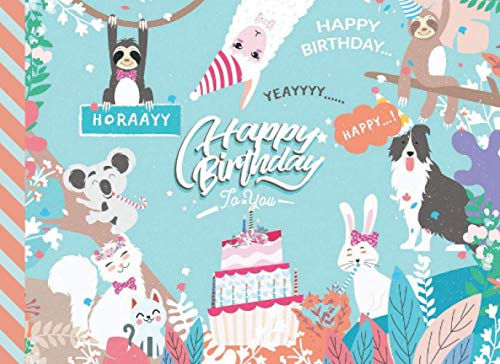 Happy Birthday: Pastel Teal Animal Theme - Sloth Llama Cat Koala / Blank Birthday Coupon Book / 50 Empty Voucher Templates in Booklet / Fun Creative Gift Idea for Kids Tweens Teens