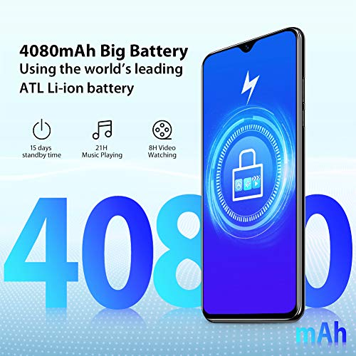 Blackview A60 Smartphone ohne Vertrag Günstig 15,49 cm (6,1 Zoll) HD+ Display 4080mAh Akku, 13MP+5MP Dual Kamera, 16GB ROM, 128 GB erweiterbar Dual SIM Android Einsteiger Handy - Schwarz - 4