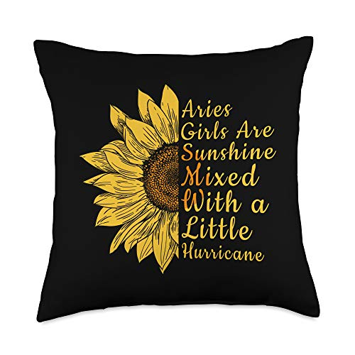 Zodiac Lover Gift Ideas For Women Store. Sunflower Aries Woman March and April Birthday Queen Gift Throw Pillow, 18x18, Multicolor