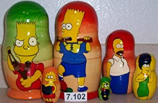 Simpsons Russian Nesting Nested Stacking Matryoshka Doll. 5 Pieces / 7 in Tall #7.102