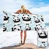 Toalla de Playa 27.5 'X 55',Funny Panda Ultra Suave Arena Microfibra Portátil Absorbente de Agua Multifibra sin Arena Toalla de Playa Manta