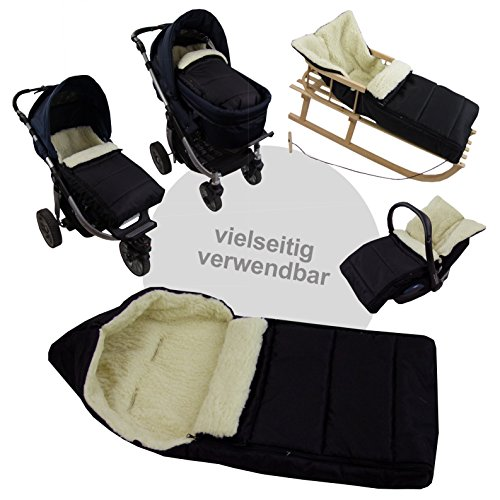 BAMBINIWELT universaler Winterfußsack (108cm), auch geeignet für Babyschale, Kinderwagen, Buggy, aus Wolle UNI liniert SCHWARZ