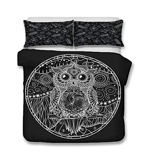 QWAS Juego de cama de 3 piezas con diseño de búhos, para cama individual, doble y king (A3, 220 x 240 cm + 80 x 80 cm x 2)