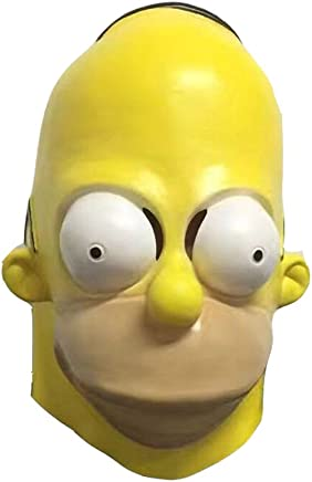 Molagogo The Homer Simpsons Latex Halloween Simpsons Cosplay Mask for Men Full Face Funny Party Mask
