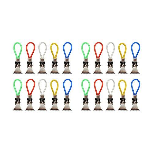 com-four® 20x Handtuchhalter-Clips aus Kunststoff und verchromten Metall, Bunte Klemmen als Handtuchhaken Clip-Aufhänger zum Aufhängen von Handtüchern, Topflappen, Geschirrtücher (20 Stück)