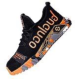 Calzado de Trabajo para Comodas,Ligeras con Puntera de Acero Zapatos de Trabajo Zapatillas de Seguridad Antideslizante Unisex,Orange▁43