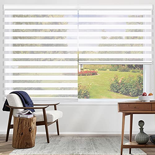 of custom accessories blinds MiLin Zebra Blinds Window Blinds and Shades Dual Layer Roller Shades with Pull Chain, Custom Cut to Size, Sheer or Privacy Light Control, Day and Night Window Curtains - Snow White 12 1/2
