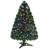Goplus 3ft Pre-Lit Artificial Christmas Tree Fiber Optic Tree with Metal Stand