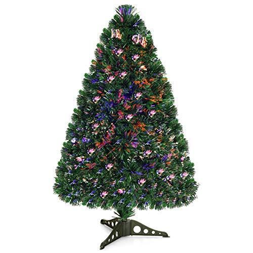 COSTWAY Albero di Natale Illuminato Abete Artificiale, con Fibra Ottica, Cambia Colore, Verde, 90-180cm (90cm)
