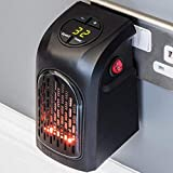 Qualimate Portable Room Heater for Winter 400W Handy Heater Compact Plug-In Portable Digital Electric Heater Fan Wall-Outlet Handy Air Warmer Blower Adjustable Timer Digital Display for Home/Office
