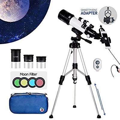 Telescope with 3 Eyepiece and Smartphone Adapter, SEAPHY Portable Travel Scope, 70mm Aperture 400mm Focal Length AZ Astronomical Refractor Telescope for Kids Beginners, 4 Moon Fliters/Carry Bag/Remote