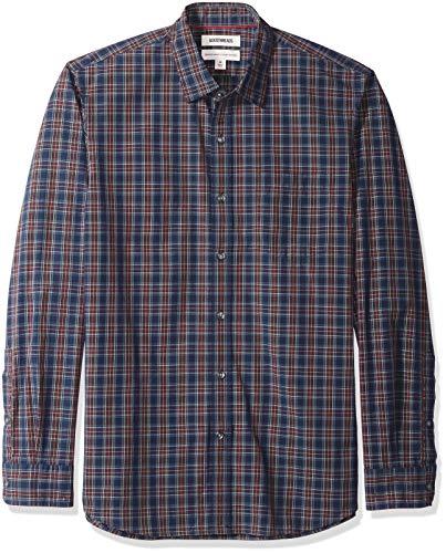 Amazon-Marke: Goodthreads Herrenhemd, langärmlig, normale Passform, kariert, aus Popeline, Blau (navy burgundy plaid), S