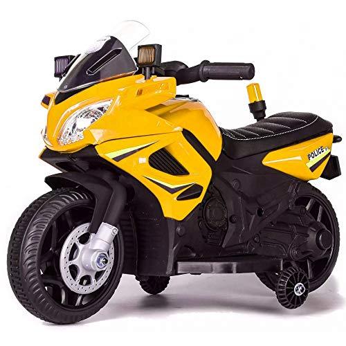 Tecnobike Shop Moto Elettrica per Bambini 6V Motocicletta Police Polizia (Giallo)