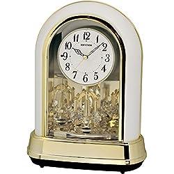Rhythm Clocks Crystal Dulcet II Musical Motion Table Clock, Pearl