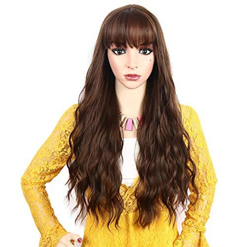 Perücken für frauen natürliche lange lockige wellige haare flauschige cosplay