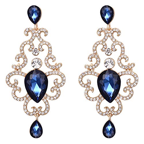 BriLove Women's Victorian Style Crystal Wave Hollow Floral Teardrop Chandelier Dangle Earrings Sapphire Color Gold-Toned