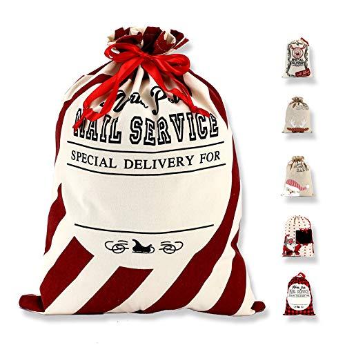 LessMo Großer Santa Weihnachtssack, Weihnachten Tasche Weihnachtsmannsack mit Kordelzug, [Ort zum Schreiben von Wünschen] Santa Sack Xmas Geschenk Packtaschen für Weihnachtsfeier Dekoration