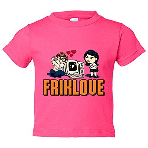 Camiseta niño Friklove regalo amor frikis San Valentín - Rosa, 12-18 meses