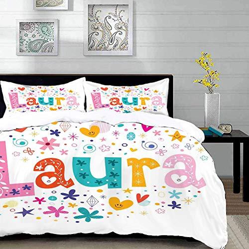 Bettwäsche-Set,Mikrofaser,Laura,Baby Girl Name mit Vintage Doodle Style Blumen und Sternen bunte Illustration,,Ultra Soft hypoallergen Bett-Bezug,1 Bettbezug 220 x 240cm + 2 Kopfkissenbezug 80x80cm