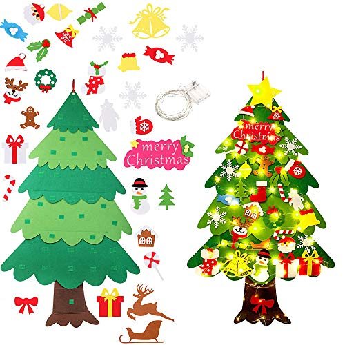 WDEC Albero di Natale in Feltro per Bambini con 50 LED 34 Albero Natale Feltro DIY Ornamenti Staccabili per la Decorazione della Parete del Portello dei Bambini, Natale Nuovo Anno dei Bambini