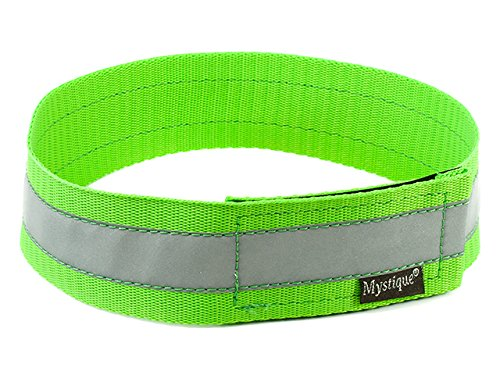 Mystique Signalhalsband mit Klettverschluss Reflexhalsband 45cm Neon grün