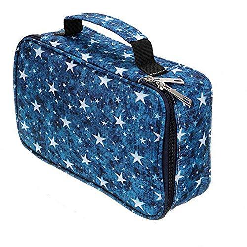Estuche para lápices de 72 agujeros, de tela Oxford, bolsa grande de 5 capas, ideal para diferentes personas, Blue (Azul) - V48892GWEX3