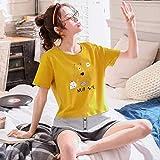 Summer Short Sleeve Women Cute Pyjama Set Summer Cotton Style Thin 2piece Set Loose Homewear Ladies Sweet Sleepwear XL 1916