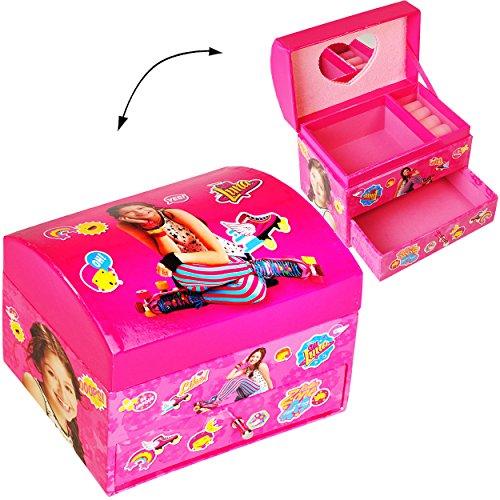 alles-meine.de GmbH Schmuckkasten - mit Schubladen + Spiegel -  Disney - Soy Luna  - Mädchen - z.B. für Schmuck - Schmuckbox Schmuckkästchen / Schmuckdose - Box / Kiste - Utens..