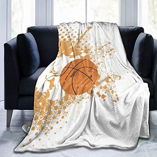 """Manta de Microfibra Ultra Suave de Baloncesto Orange Splash, Manta de Microfibra cálida de Lujo para Todas Las Estaciones para Ropa de Cama, sofá y Viajes de 60 """"X 50"""" ✅"""