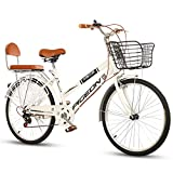 FXMJ Bicicleta de Crucero de 24 Pulgadas, Bicicleta de Carretera cómoda de 7 velocidades para Hombres, Bicicleta de Viaje híbrida para Mujeres,Blanco