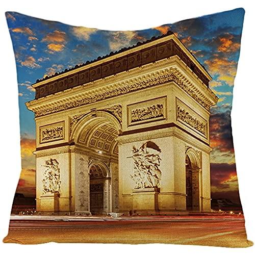 Agoble Federa Cuscino Oro Chiaro Edificio Dell'Arco di Trionfo, Biancheria Cuscino Sedia 50x50cm/20x20 Inches