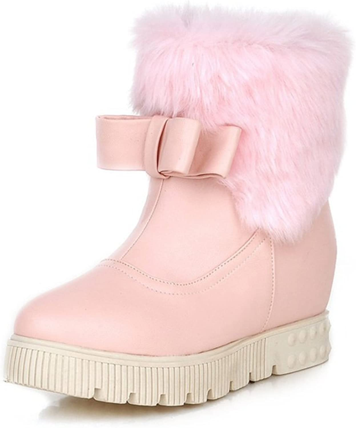 RHFDVGDS Cute girls bow high snow boots waterproof nubuck leather high heel women's boots short tube College shoes student padded winter shoes