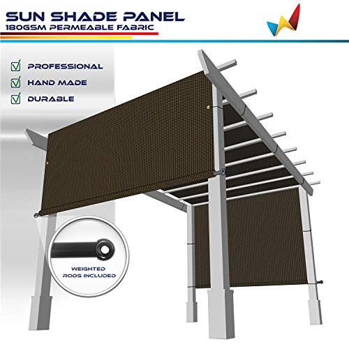 Windscreen4less 12' x 16' Universal Replacement Shade Cover Canopy for Pergola Patio Porch Privacy Shade Screen Panel with Grommets on 2 Sides Includes Weighted Rods Breathable UV Block Brown