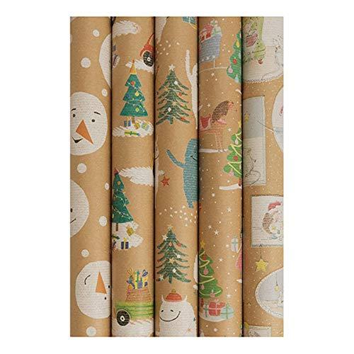 Geschenkpapier Kindermotive Weihnachtspapier Weihnachtsgeschenkpapier 5 Rollen a 70 cm x 5 m riesige Menge + 24 Geschenkeanhänger
