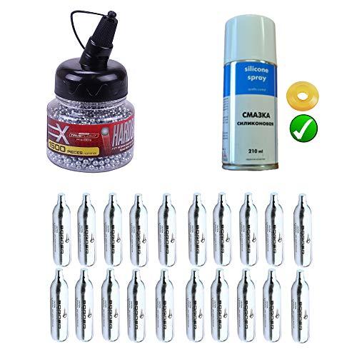 Ecommur Kit de consumibles para Pistolas de Bolas y CO2 | Balines BB's + bombonas de CO2 12gr Alto Rendimiento + Aceite de Silicona