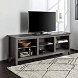 Walker Edison Wren Classic 6 Cubby TV Stand for TVs up to 80 Inches, 70 Inch, Charcoal Grey