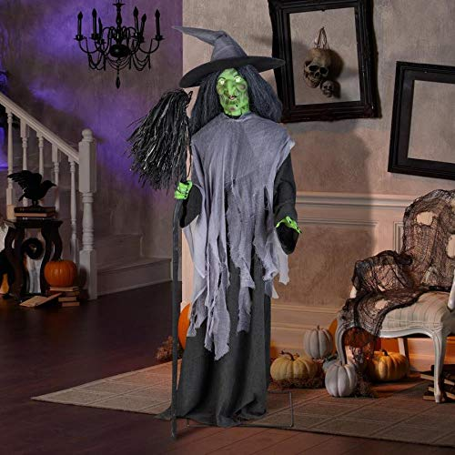 Gemmy Halloween 6′ Feet Animatronic Evil Speaking Witch W/Broom