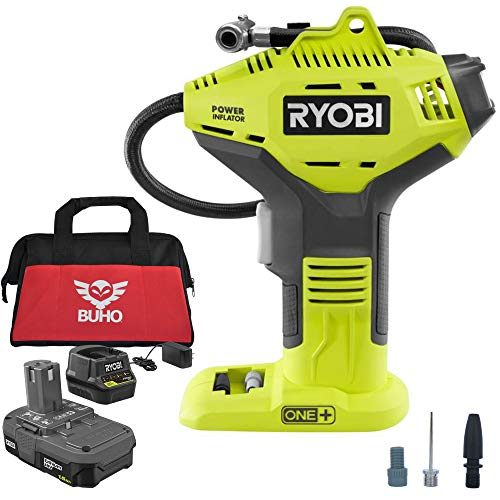 Ryobi P737D Portable Power Inflator with P118B Charger, 1.5 Ah Lithium-ion Battery and 15 Inch Buho Tool Bag