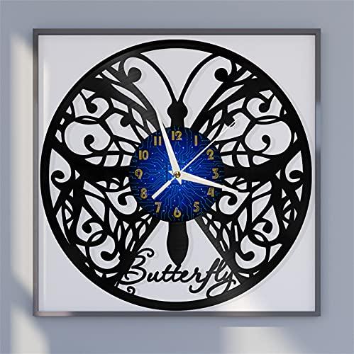Bonito Tema Mariposa 2 Vinilo Registro Reloj de Pared, Reloj de Pared para la Cocina Casa Sala de Estar Dormitorio Escuela(B) Regalos de Arte Papá Padre Decoraciones Mens Dormitorio Decoración or
