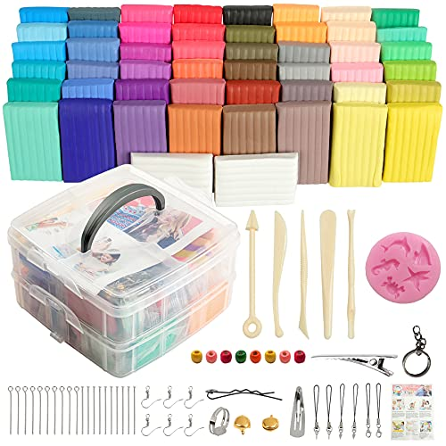 Polymer clay50 Colors, Aestd-ST Soft Clay DIY Starter kit, Oven Bake...