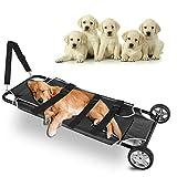Tuntrol Animal Stretcher Pet Transport Trolley Dog Gurney 45x22 Inch Max 250lbs Capacity with Wheels