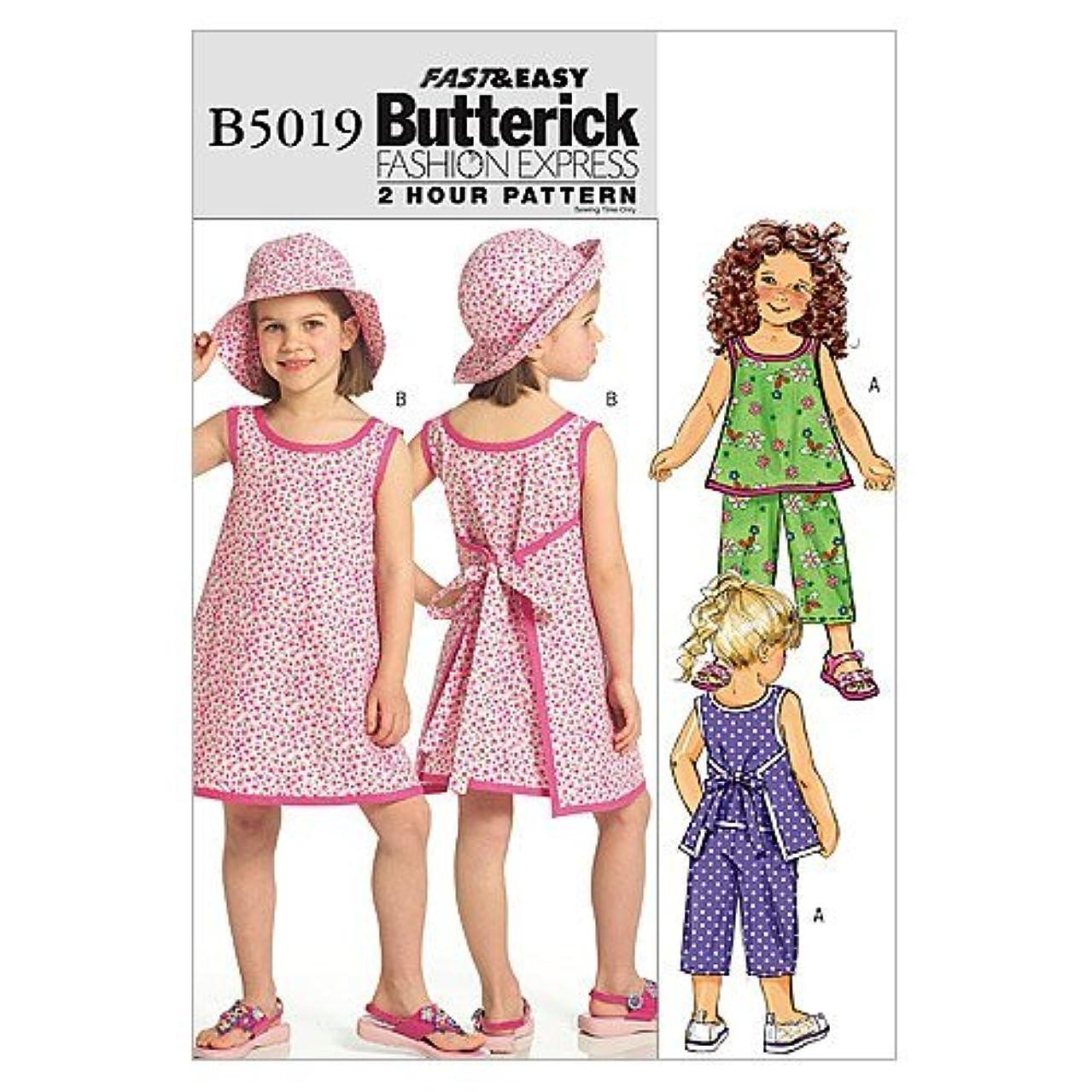 BUTTERICK PATTERNS B5019 Children's/Girls Top, Dress, Pants and Hat, Size CL (6-7-8)