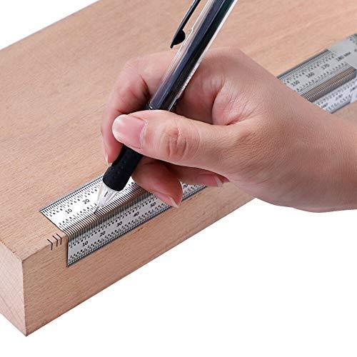Regla de escala de alta precisión con agujero en T para carpintería de acero inoxidable, 180 mm, regla de línea de ángulo recto con bolígrafo