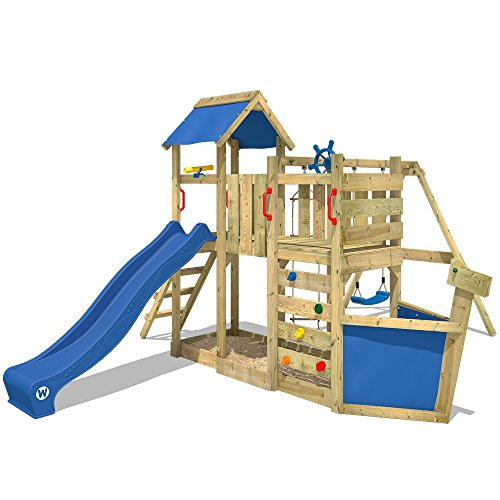 WICKEY Giochi da giardino OceanFlyer Torre da giocho con altalena sabbiera, scivolo blu + telone blu
