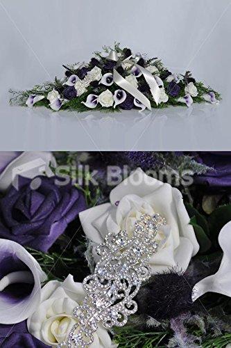 Silk Blooms Ltd Elegant Rustic Purple-Tipped Calla Lily & Scottish Thistle w/Brooch Cascade Bridal Wedding Table Flowers