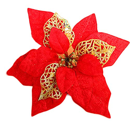 COOLJOY 24 PCS Glitter Poinsettia Christmas Tree Ornaments Flowers Xmas Tree Wreaths Decorations Decor Red