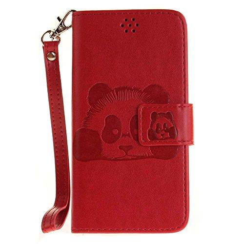 Huawei Y3 II Hülle Huawei Y3 2 Hülle, COOSTOREEU Handyhülle Schutzhülle Tasche mit Panda Muster Kartenfach Standfunktion Magnetlasche für Huawei Y3 II / Huawei Y3 2, Rot