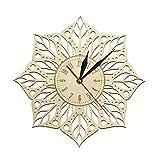 HIDFQY Mandala Lotus Yoga Yoga Antiguo Arte de Pared Reloj de Pared de Madera geometría Sagrada Yoga Reloj de Pared decoración para el hogar Interior Regalo de Yoga para Ella