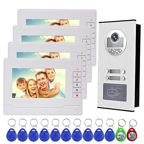 NN99 Video del teléfono de la puerta Sistema de intercomunicación del timbre del teléfono 7 pulgadas Pantalla clara + RFID Cámara de acceso Doorphone (1 Camera + 4 Screens)
